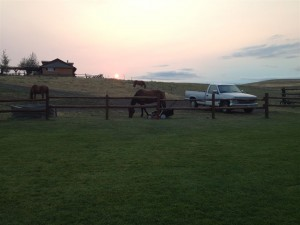 Ranch im Sonnenuntergang